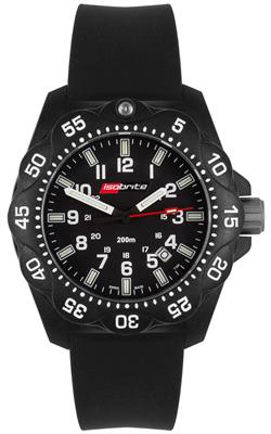 ArmourLite Tritium Watch - Isobrite ISO350 Mid-Size Black w/ Rubber Strap - DISCONTINUED
