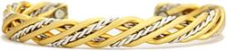 Trellis Brushed Magnetic - Sergio Lub Silver & Brass Magnetic Bracelet - Made in USA! (lub533) - New!