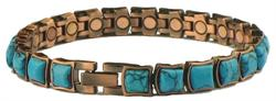 Copper (Simulated) Turquoise Majestic - Magnetic Therapy Bracelet (MBC-130) - DISCONTINUED