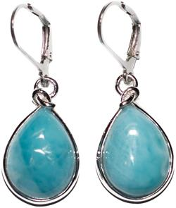 Sterling Silver Drop Earrings with Pear Shape Larimar Stones (BTS-NEA3009/LR/R)
