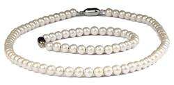 Nobility Simulated Pearls - Simulated Pearl Coated Hematite Magnetic Therapy Bracelet and Necklace Set (201CW)