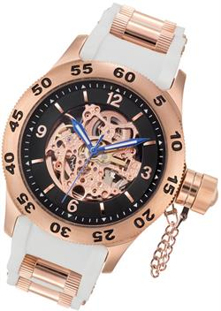 Rougois Rose Gold & White Automatic Skeleton Naval Diver Watch