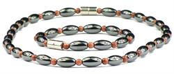 Hematite and Simulated Sandstone - Magnetic Therapy Bracelet and Necklace Set (501GS)