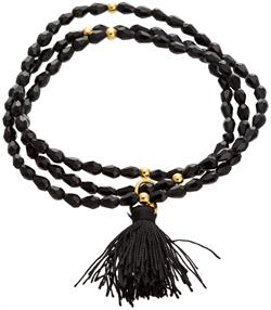 Gold Plated Sterling Silver Black Crystal Stretch Tassel Bracelet