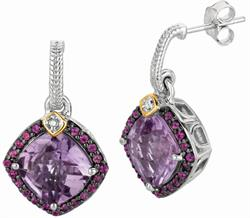 Phillip Gavriel - 0.44ctw. Diamond, Amethyst & Rhodolite Garnet 18K Yellow Gold & Sterling Silver Rock Candy Earrings