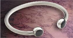 Q Ray - Deluxe Noir Silver Cuff Bracelet (Q431) - DISCONTINUED