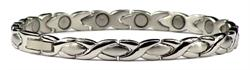 Silver Plated XOXO - Stainless Steel Magnetic Therapy Bracelet (SS-23)