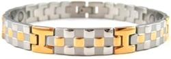 Gold and Silver Checkers - Stainless Steel Magnetic Therapy Bracelet