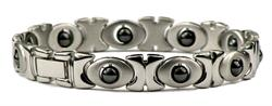 Silver Hematite Kisses - Stainless Steel Magnetic Therapy Bracelet (SS-MRB1S) - DISCONTINUED