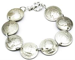 Pre-1965 90% Silver Quarters / Sterling Silver Magnetic Bracelet Handmade by Maria Lucia