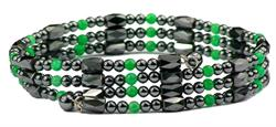 Green Wrap Around Hematite - Magnetic Therapy Bracelet-Anklet (WA-EG1) - DISCONTINUED
