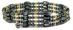 Gold Plated Beads Wrap Around Hematite - Magnetic Therapy Bracelet-Anklet (WA-G1)