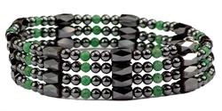 Simulated Jade Wrap Around Hematite - Magnetic Therapy Bracelet-Anklet (WA-J1)