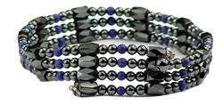 Simulated Lapis Wrap Around Hematite - Magnetic Therapy Bracelet-Anklet (WA-L1)