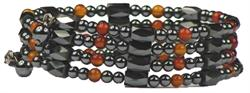 Simulated Red Agate Wrap Around Hematite - Magnetic Therapy Bracelet-Anklet (WA-RA1) - DISCONTINUED
