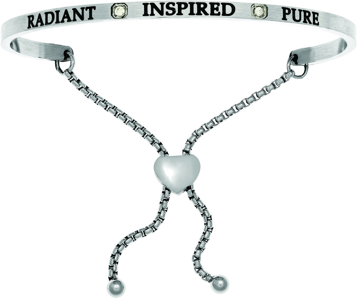 """Radiant, Inspired, Pure"" w/ CZ Stainless Steel Adjustable Bracelet"