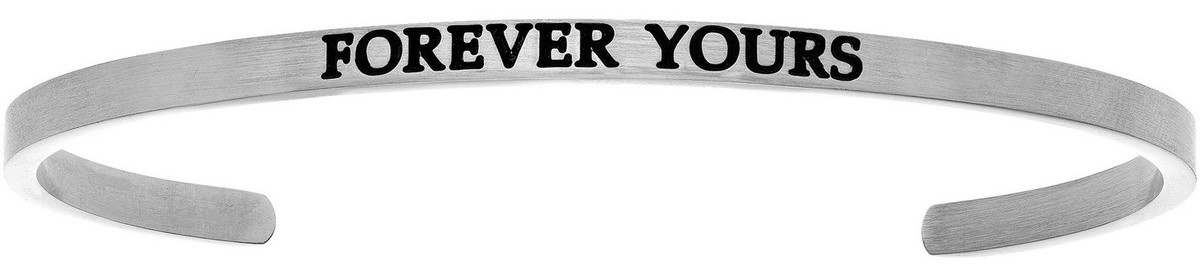 """FOREVER YOURS"" Stainless Steel Cuff Bracelet w/ 0.005ctw Diamond"