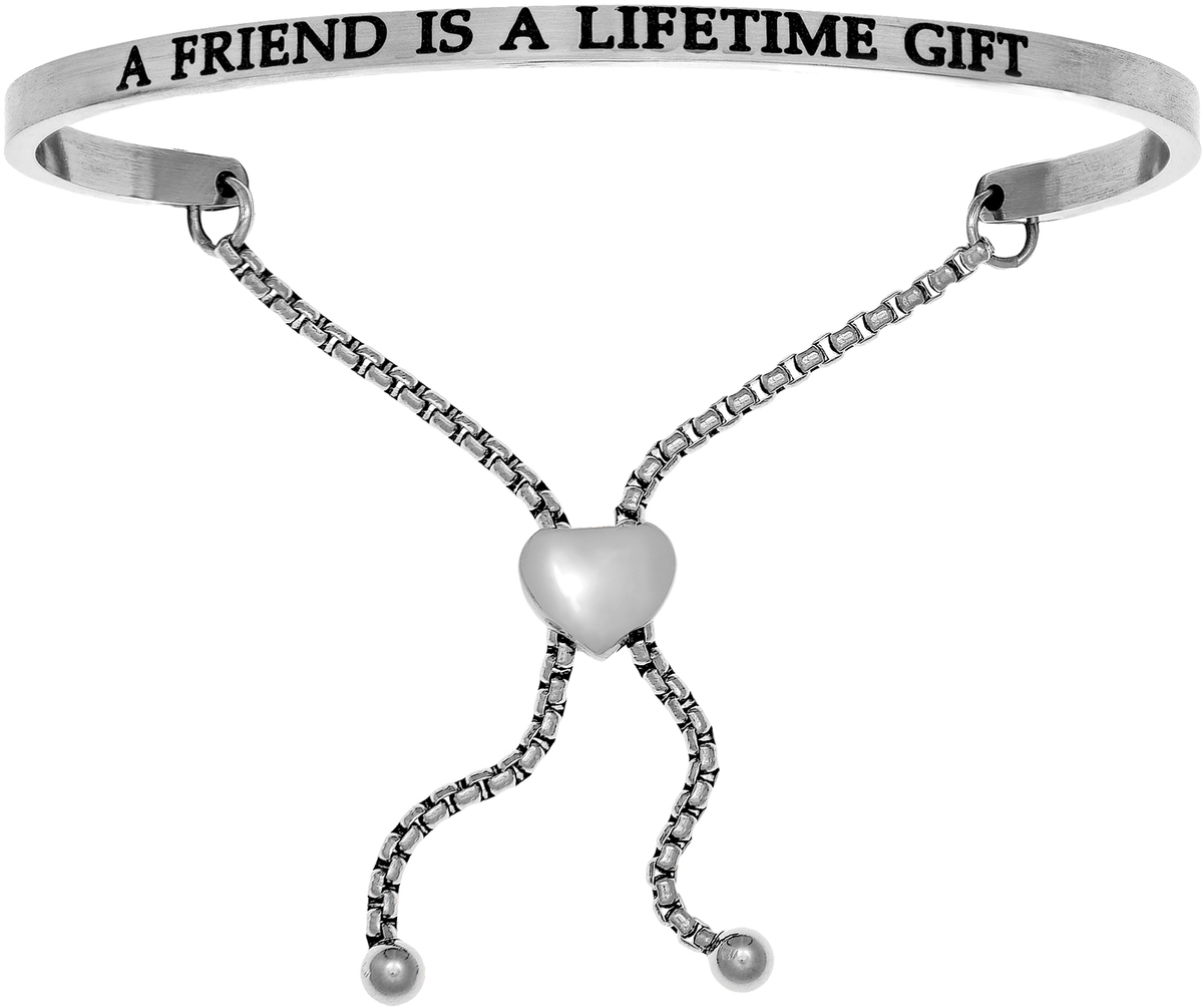 """A FRIEND IS A LIFETIME GIFT"" Stainless Steel Adjustable Bracelet w/ 0.005ctw Diamond"