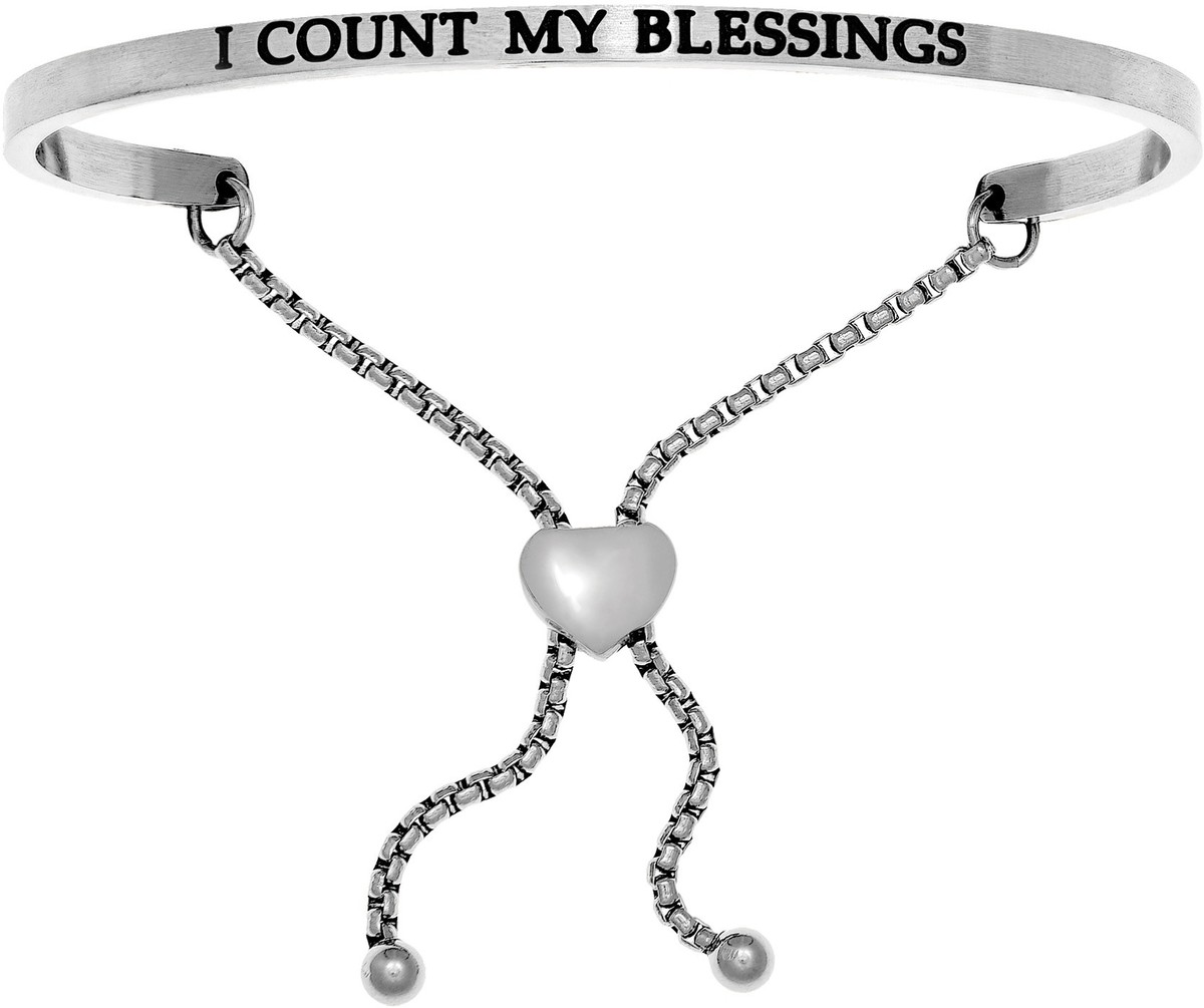 """I COUNT MY BLESSINGS"" Stainless Steel Adjustable Bracelet w/ 0.005ctw Diamond"