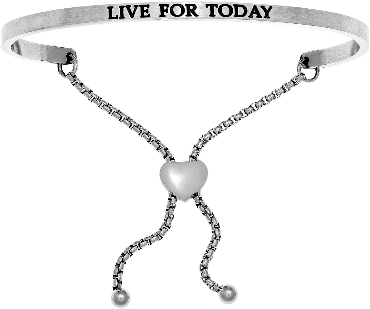 """LIVE FOR TODAY"" Stainless Steel Adjustable Bracelet w/ 0.005ctw Diamond"
