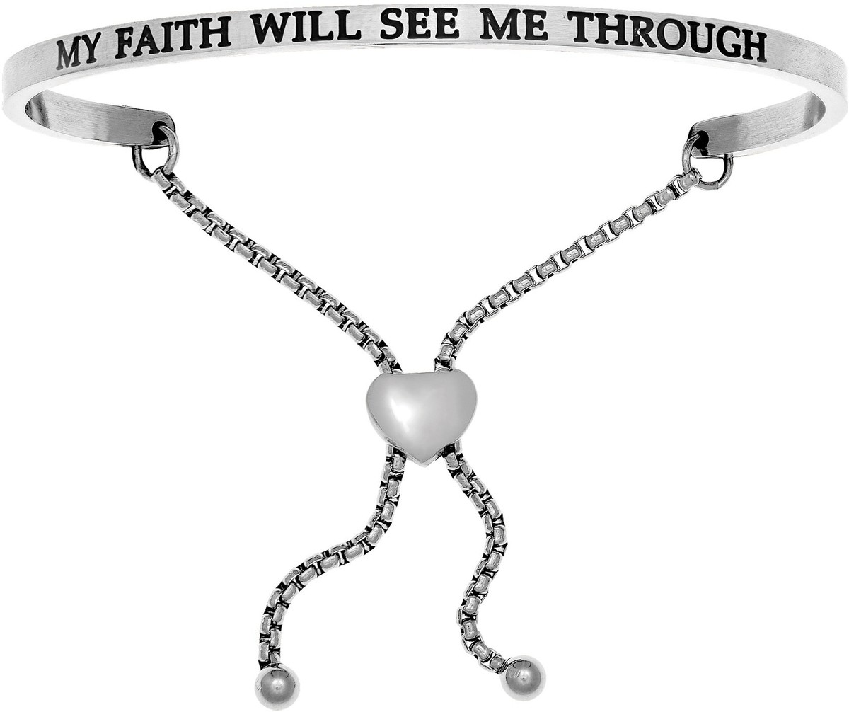 """MY FAITH WILL SEE ME THROUGH"" Stainless Steel Adjustable Bracelet w/ 0.005ctw Diamond"