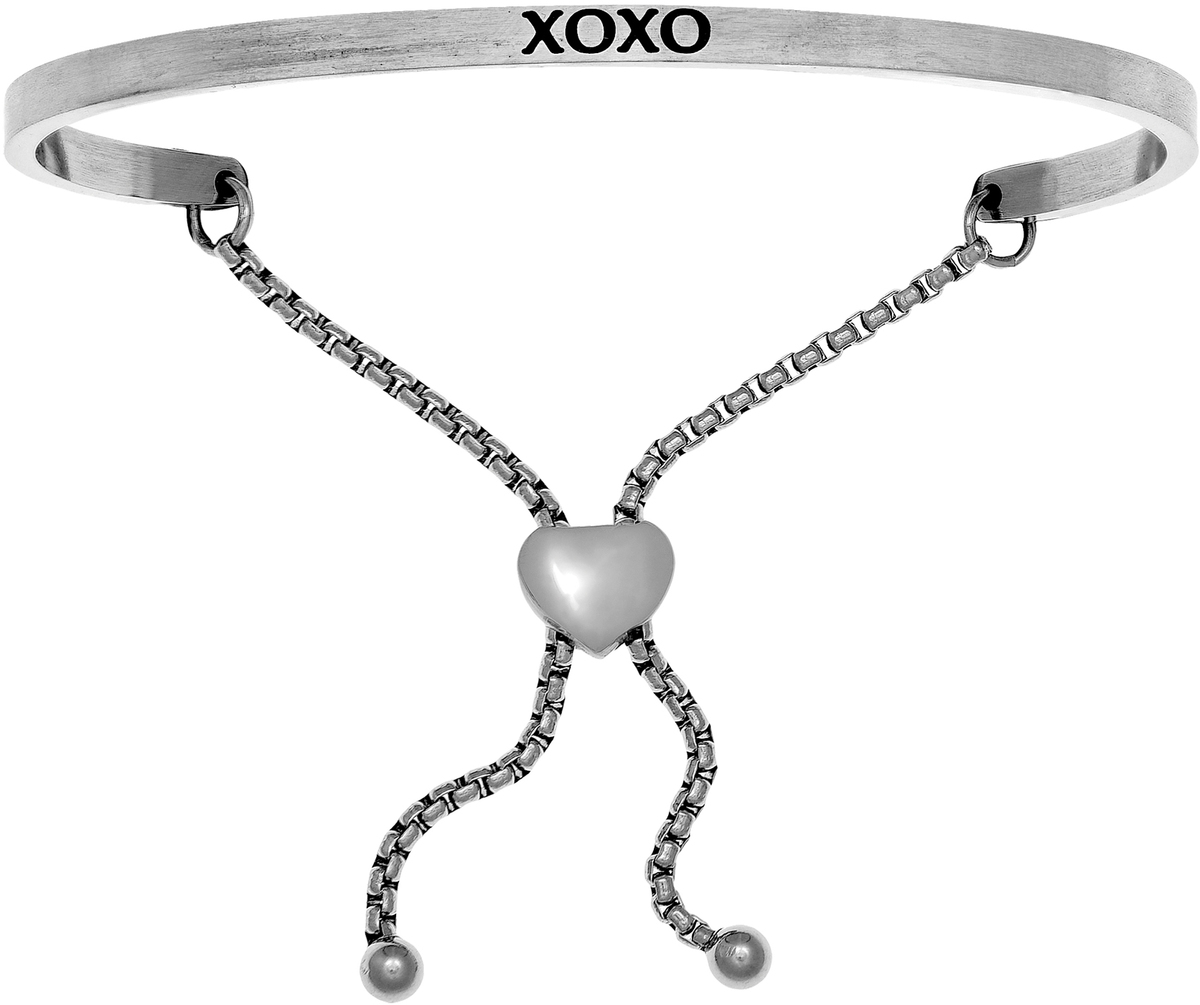 """XOXO"" Stainless Steel Adjustable Bracelet w/ 0.005ctw Diamond"