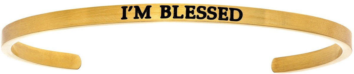 """IM BLESSED"" Yellow Finish Stainless Steel Cuff Bracelet w/ 0.005ctw Diamond"