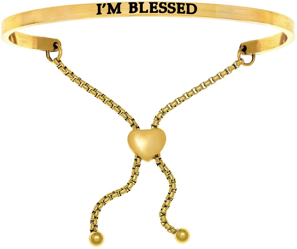 """IM BLESSED"" Yellow Finish Stainless Steel Adjustable Bracelet w/ 0.005ctw Diamond"