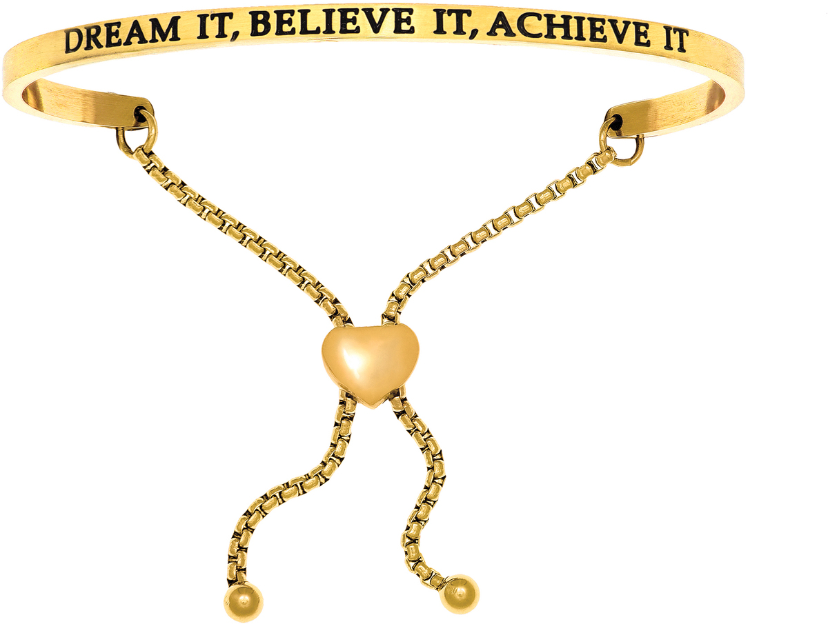 """DREAM IT, BELIEVE IT, ACHIEVE IT"" Yellow Finish Stainless Steel Adjustable Bracelet w/ 0.005ctw Diamond"