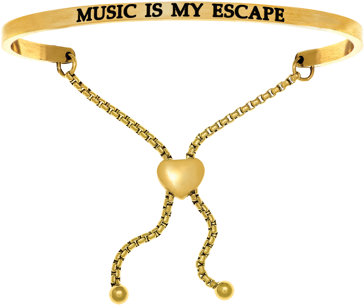 """MUSIC IS MY ESCAPE"" Yellow Finish Stainless Steel Adjustable Bracelet w/ 0.005ctw Diamond"