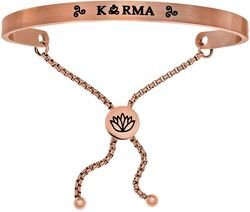 Pink Finish Stainless Steel Adjustable Karma Intuitions Friendship Bangle Bracelet