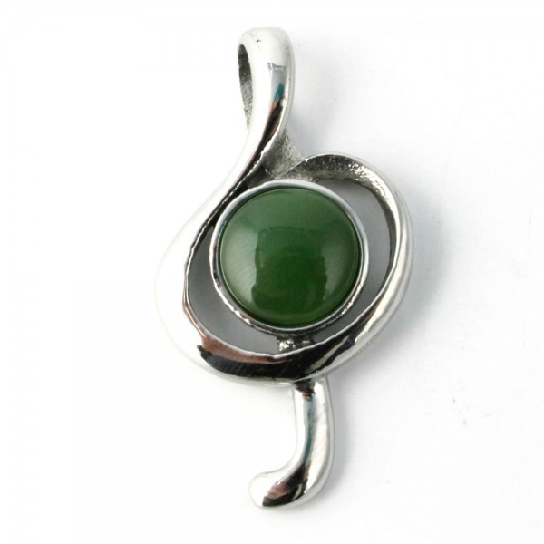 Genuine Natural Nephrite Jade & Surgical Steel Treble Clef Pendant 0082
