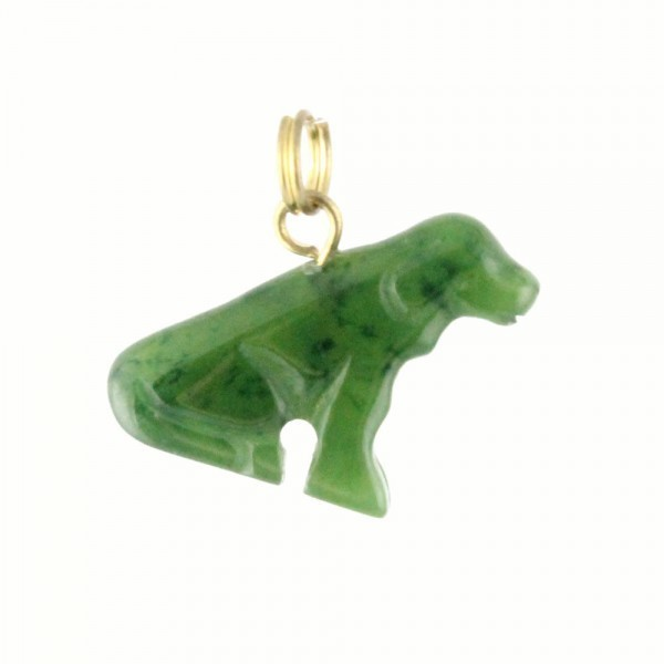 Genuine Natural Nephrite Jade Sitting Dog Charm w/ Gold-Tone Bail