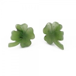 Genuine Natural Nephrite Jade Shamrock Stud Earrings