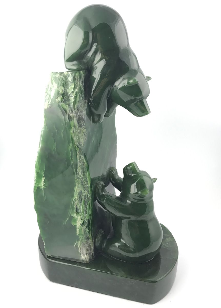Green Genuine Natural Nephrite Jade Playful Pair of Bears AA+ Grade
