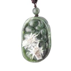 Green Genuine Natural Nephrite Jade Spider Pendant/Charm on a Cord