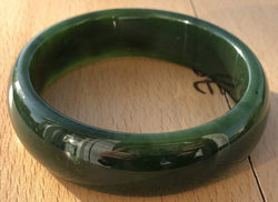 Dark Green Genuine Natural Nephrite Jade Bangle Bracelet