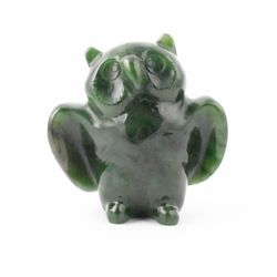 Green Genuine Natural Nephrite Jade Owl Figurine 3 inch