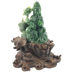 AA Grade Green Genuine Natural Nephrite Jade Guanyin Statue on Wooden Base 5.25in