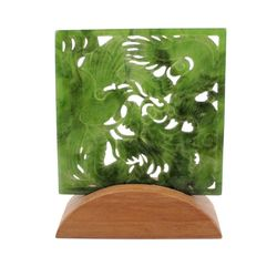 Green Genuine Natural Nephrite Jade Square Decorative Screen/Scene Dragon & Phoenix