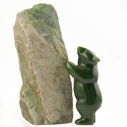 Green Genuine Natural Nephrite Canadian Jade Bear Standing Against Siberian Jade 5in