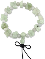 Natural Green Jadeite Jade Carved Zodiacs & Beads on Elastic Cord Bracelet
