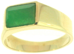 Natural Green Jadeite Jade Curved Tablet Ring, Size 7.5