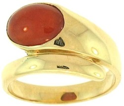 Natural Red Jadeite Jade Oval Stone Ring 14K Yellow Gold Wrap-Around Mounting, Size 7