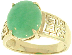 Natural Green Jadeite Jade Oval Stone Ring w/ 14K Yellow Gold Key Design Shank, Size 7