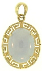 Natural Lavender Jadeite Jade Oval Set 14K Yellow Gold Frame w/ Key Motif Pendant