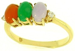 Natural Multi-Color Jadeite Jade Oval Three Stone Ring w/ Diamond Accents, Size 7