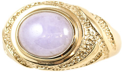 Natural Lavender Jadeite Jade Oval Stone Ring w/ 14K Yellow Gold Textured Mounting, Size 7