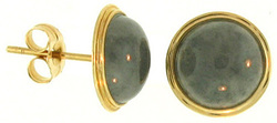 Natural Grey Jadeite Jade Founds 14K Yellow Gold Earrings