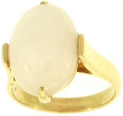 Natural White Jadeite Jade Oval Stone Ring , Size 6